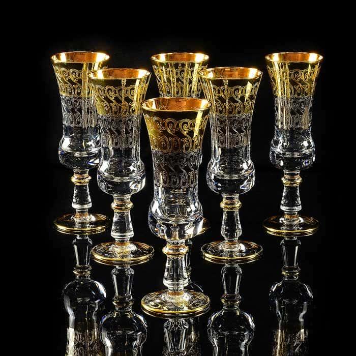 CREMONA Бокал для шампанского, набор 6 шт, хрусталь/декор золото 24К
