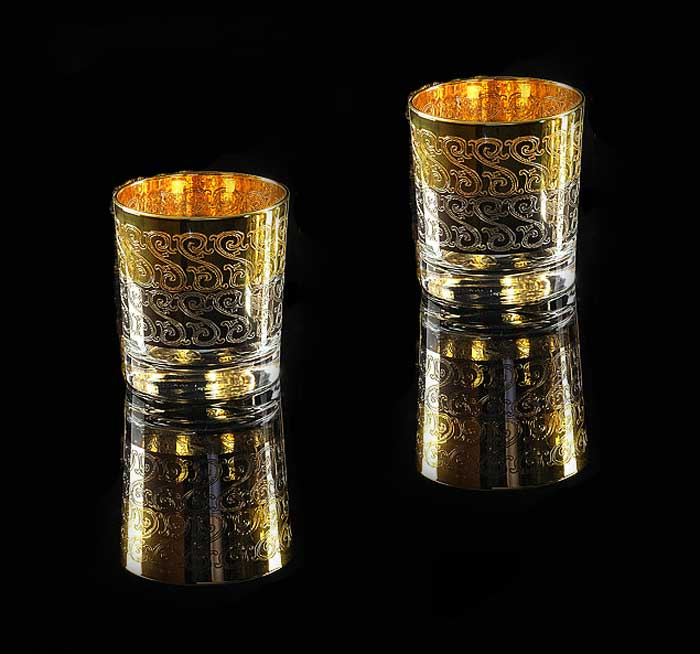 CREMONA Стакан для виски 300 мл, набор 2 шт, хрусталь/декор золото 24К