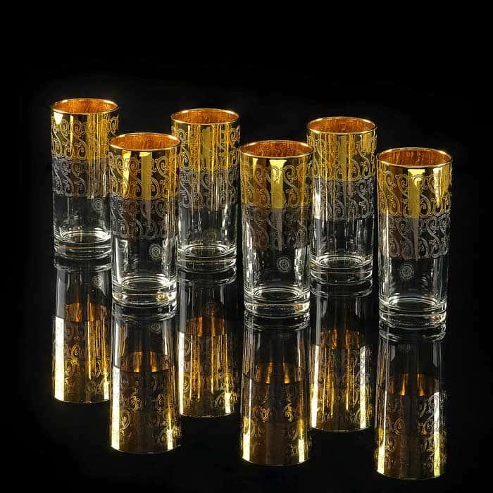 CREMONA Стакан 400 мл, набор 6 шт, хрусталь/декор золото 24К