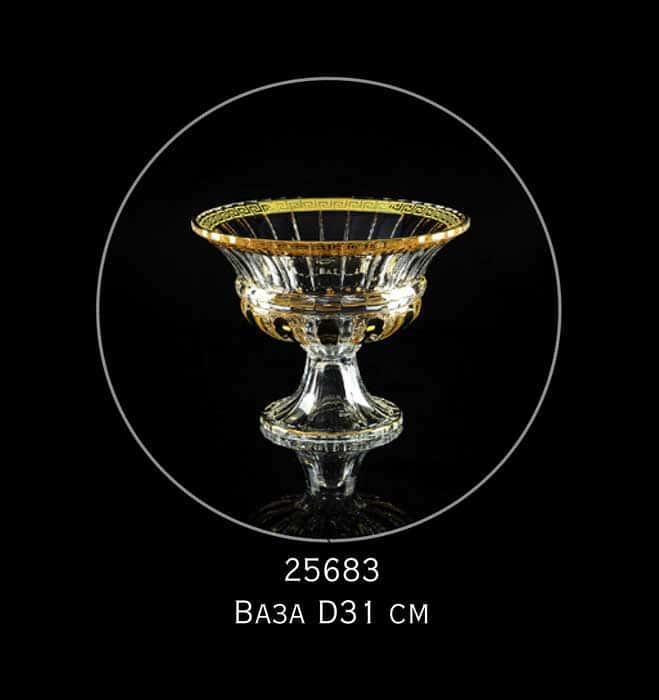 DECOR Ваза для фруктов D31 см, хрусталь/декор золото 24К