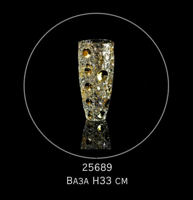 DECOR Ваза для цветов H33 см, хрусталь/декор золото 24К