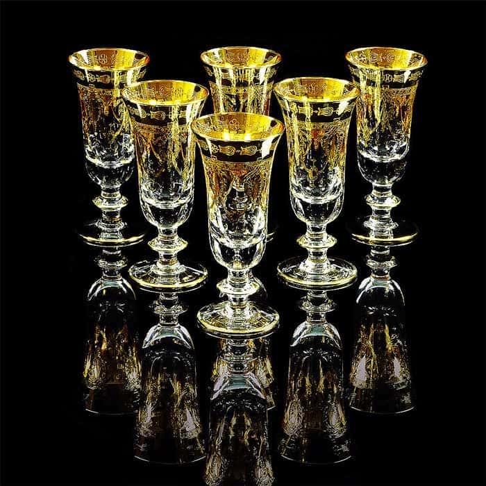 DINASTIA Бокал для шампанского, набор 6 шт, хрусталь/декор золото 24К