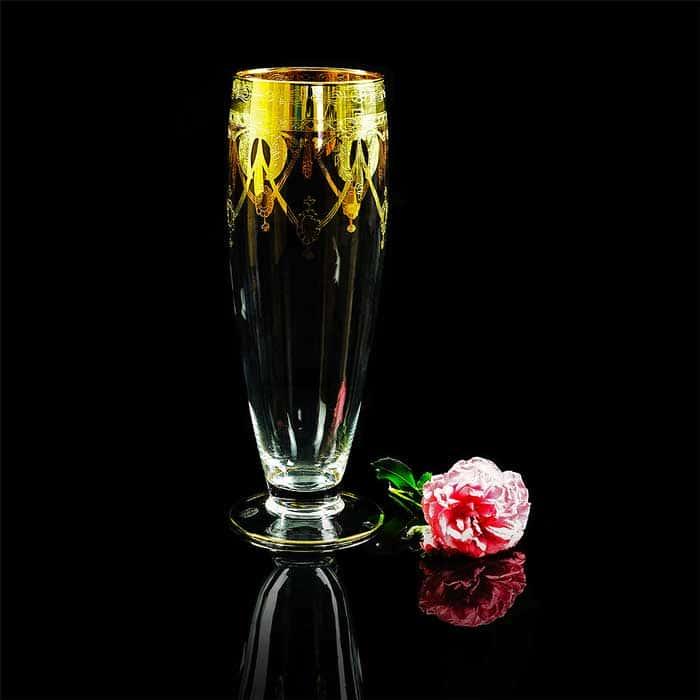 DINASTIA Ваза для цветов H42 см, хрусталь/декор золото 24К