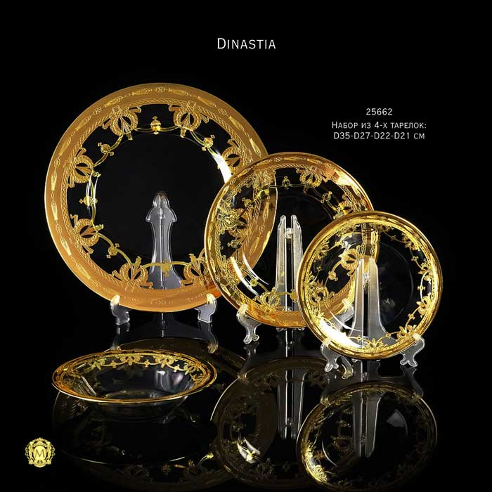 DINASTIA Набор из 4-х тарелок: D35-D27-D22-D21 см, хрусталь/декор золото 24К