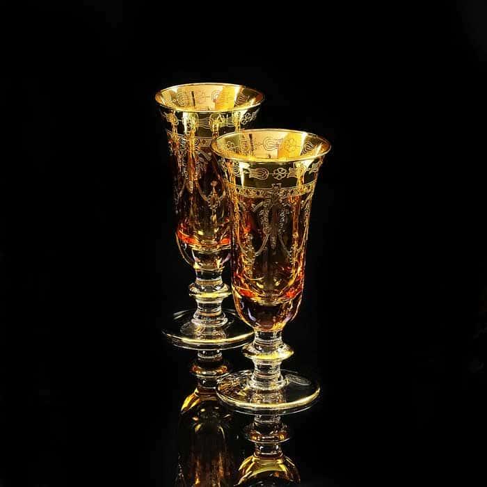 DINASTIA AMBRA Бокал для шампанского, набор 2 шт, хрусталь янтарный/декор золото 24К
