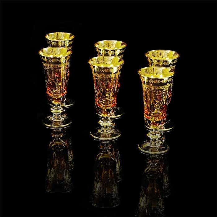 DINASTIA AMBRA Бокал для шампанского, набор 6 шт, хрусталь янтарный/декор золото 24К