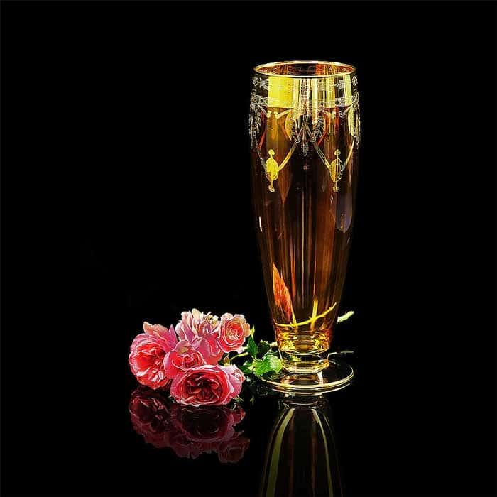 DINASTIA AMBRA Ваза H42 см, хрусталь янтарный/декор золото 24К