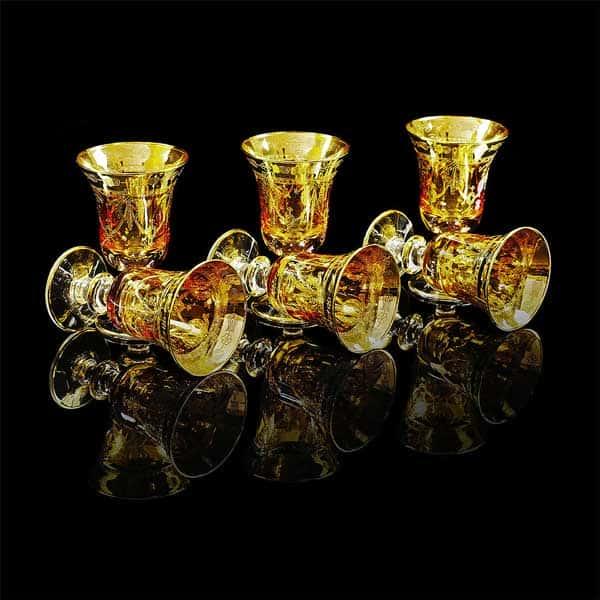 DINASTIA AMBRA Рюмка, набор 6 шт, хрусталь янтарный/декор золото 24К