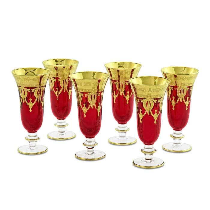 DINASTIA ROSSO Бокал для шампанского, набор 6 шт, хрусталь красный/декор золото 24К