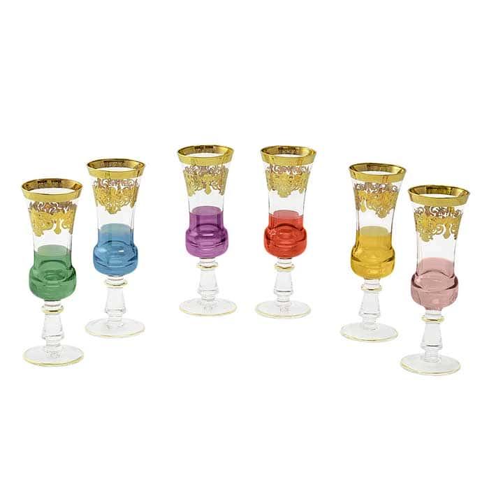 FIRENZE Бокал для шампанского, набор 6 шт, хрусталь разноцветный/декор золото 24К
