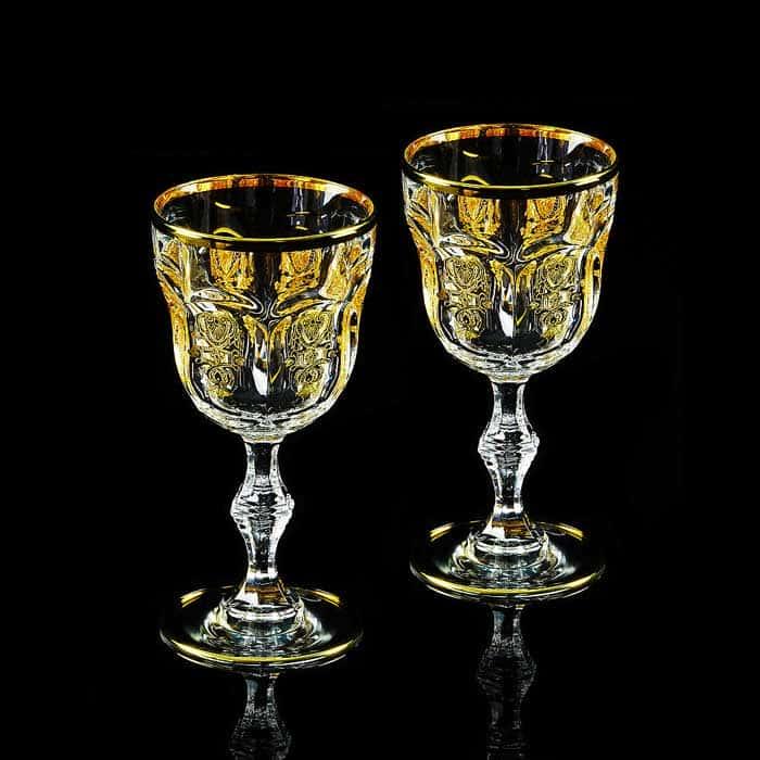 GLORIA Бокал для вина/воды, набор 2 шт, хрусталь/декор золото 24К