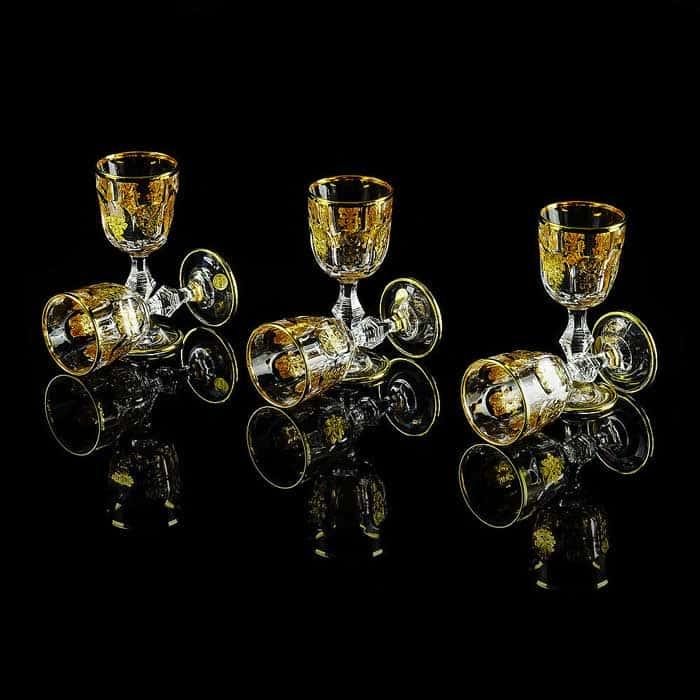 GLORIA Рюмка для водки, набор 6 шт, хрусталь/декор золото 24К