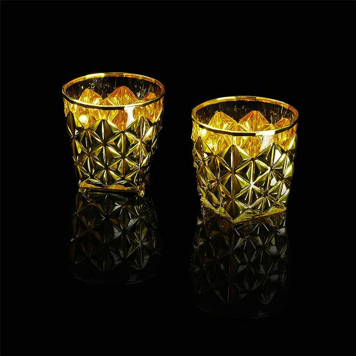 GOLDEN DREAM Стакан для виски 350 мл, набор 2 шт, хрусталь/золото 24К