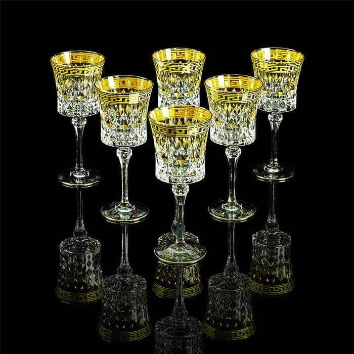 IMPERIA Бокал для вина/воды, набор 6 шт, хрусталь/декор золото 24К