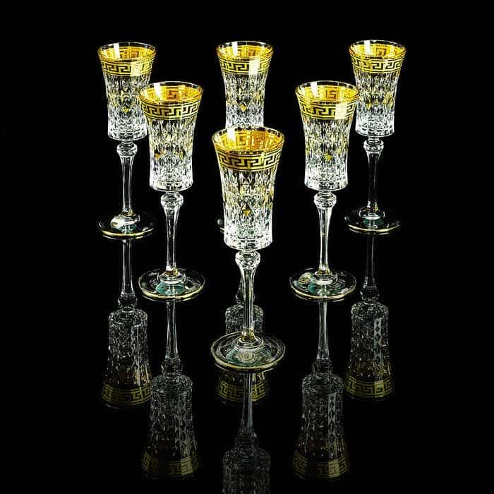 IMPERIA Бокал для шампанского, набор 6 шт, хрусталь/декор золото 24К