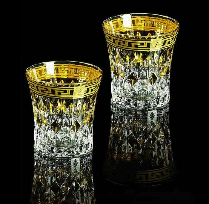 IMPERIA Стакан для виски 270 мл, набор 2 шт, хрусталь/декор золото 24К