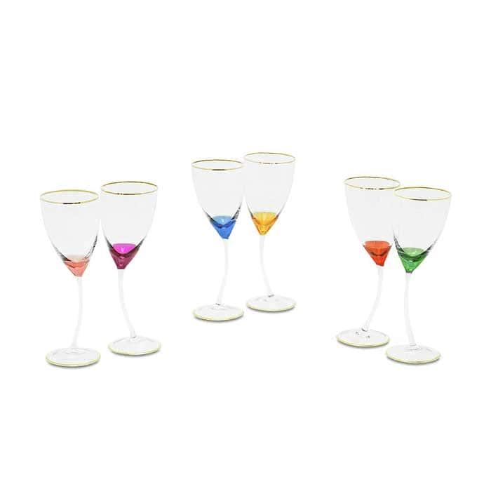 INIGMA Бокал для вина/воды, набор 6 шт, хрусталь разноцветный/декор золото 24К