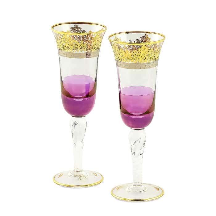 LUCIANA Бокал для шампанского, набор 2 шт, хрусталь фиолетовый/декор золото 24К