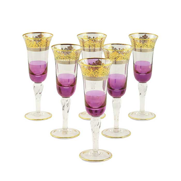 LUCIANA Бокал для шампанского, набор 6 шт, хрусталь фиолетовый/декор золото 24К