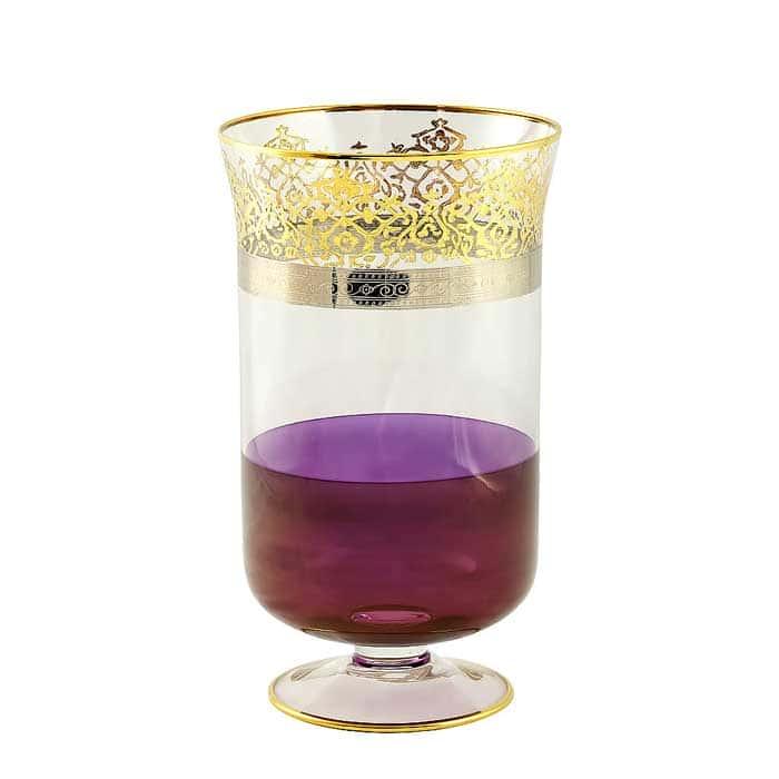 LUCIANA Ваза для цветов H32 см, хрусталь фиолетовый/декор золото 24К