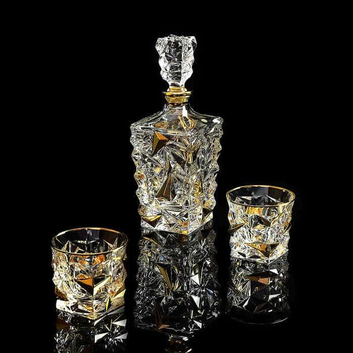 MONTE CRISTO Комплект для виски: графин + 2 стакана, хрусталь/декор золото 24К