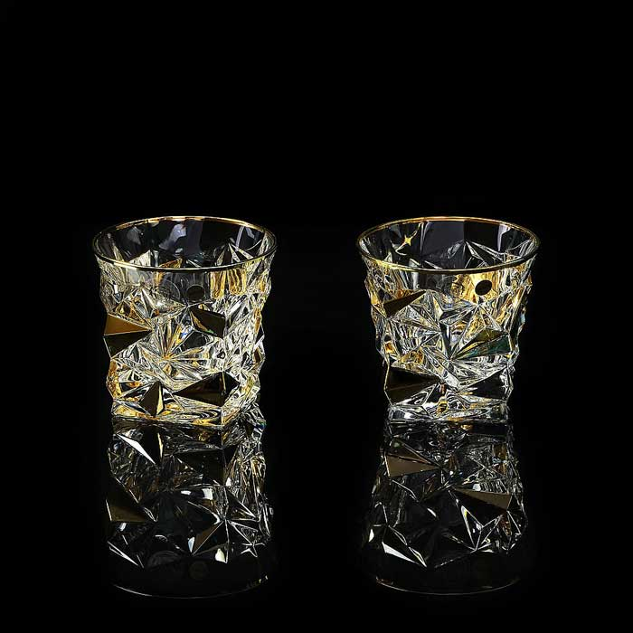 MONTE CRISTO Стакан 300 мл для виски, набор 2 шт, хрусталь/декор золото 24К