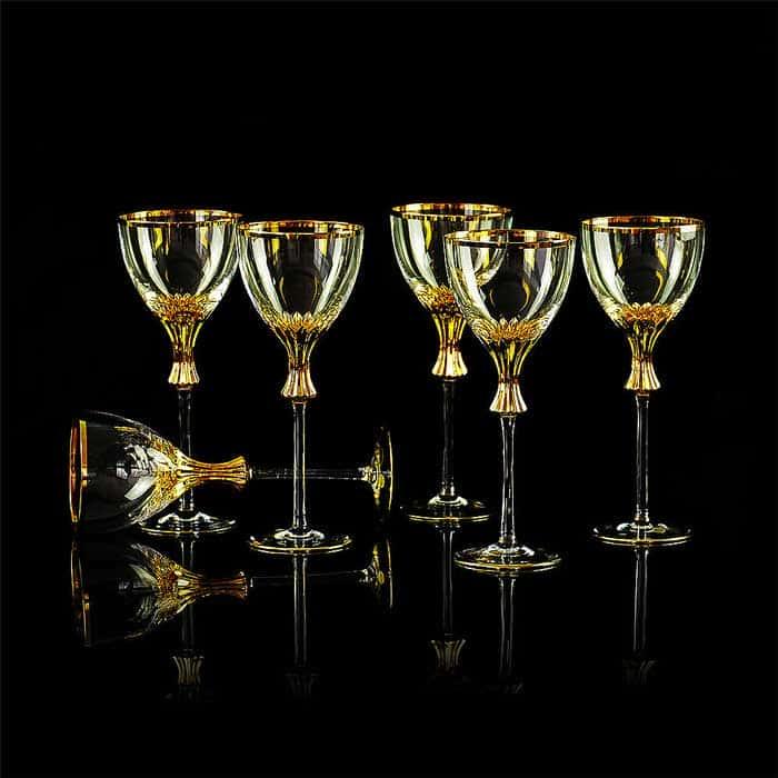 OPERA Бокал для красного вина/воды, набор 6 шт, хрусталь/декор золото 24К