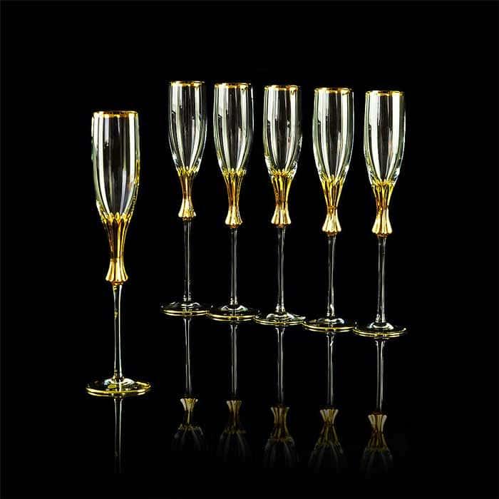OPERA Бокал для шампанского, набор 6 шт, хрусталь/декор золото 24К