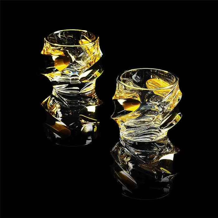 POCKER Стакан 300 мл для виски, набор 2 шт, хрусталь/декор золото 24К