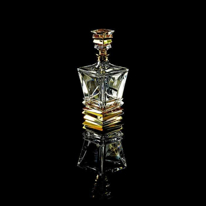VIKONT Графин для виски 0,85 л. H29 см, хрусталь/декор золото 24К