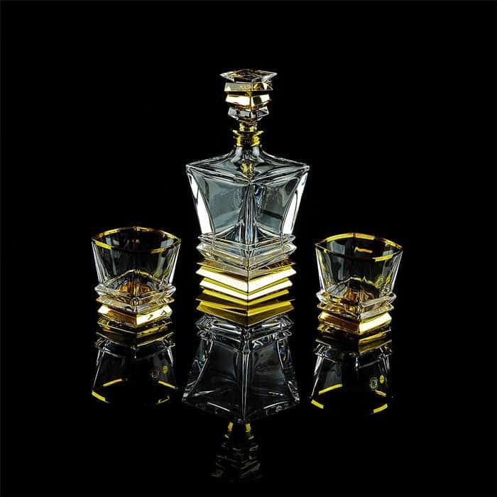 VIKONT Комплект для виски: графин + 2 стакана, хрусталь/декор золото 24К