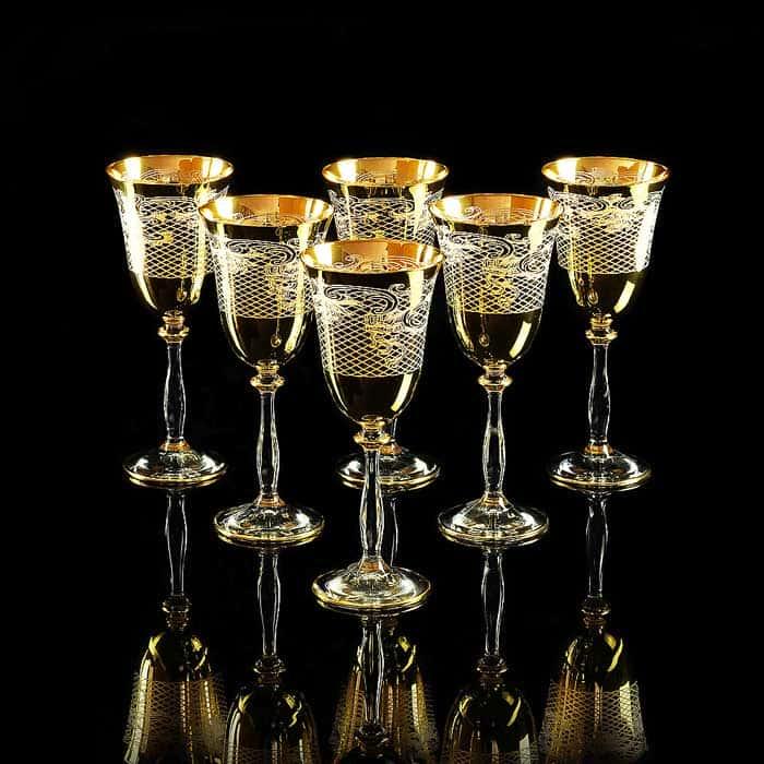 VITTORIA Бокал для вина/воды, набор 6 шт, хрусталь/декор золото 24К