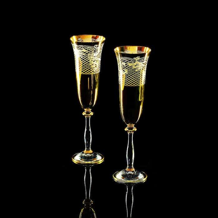 VITTORIA Бокал для шампанского, набор 2 шт, хрусталь/декор золото 24К