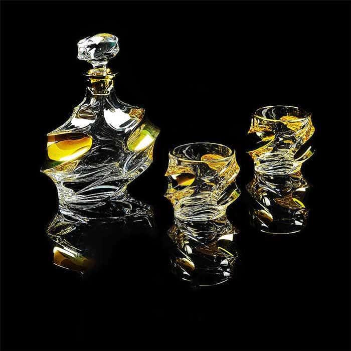POCKER Комплект для виски: графин + 2 стакана, хрусталь/декор золото 24К