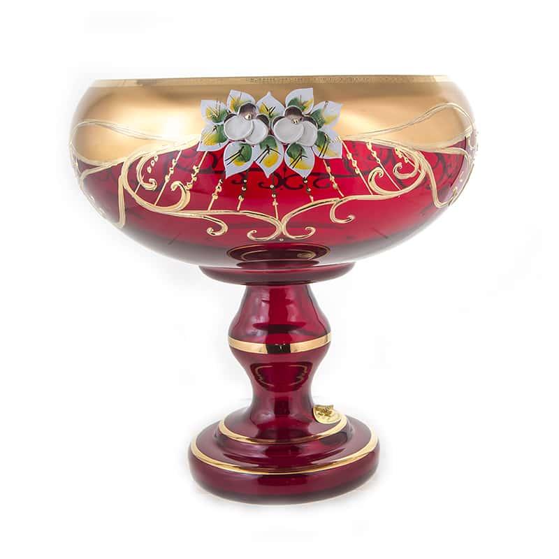 Лепка красная 6333 Ваза для фруктов на ножке U. Glass 24 см