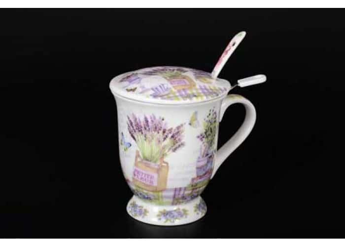 Бабочки Petit Fleur Кружка с крышкой и ложкой в подарочной упаковке