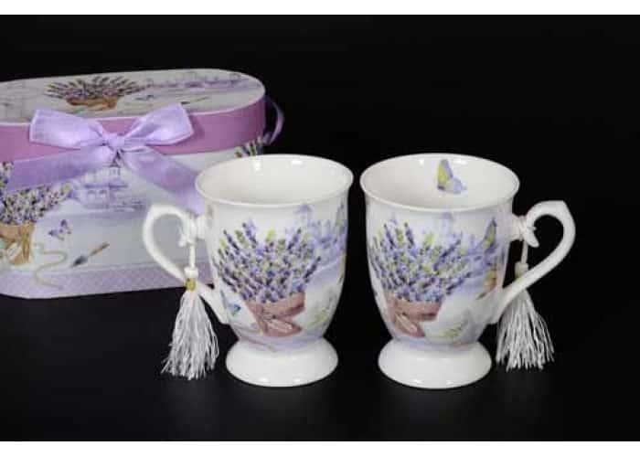 Бабочки Lavender Кружка с крышкой и ложкой в подарочной упаковке