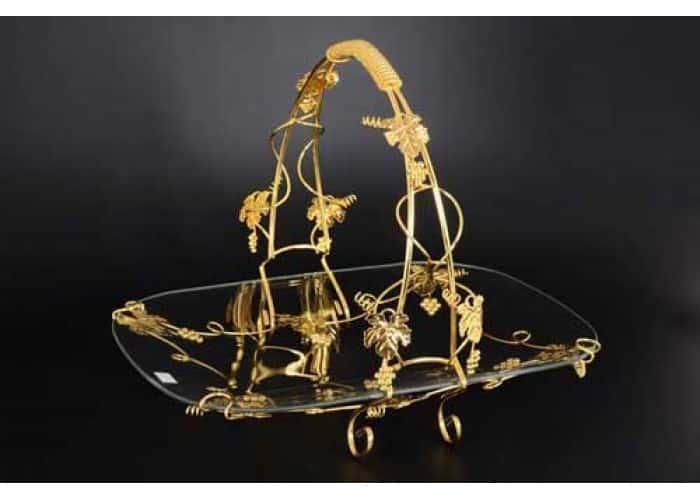 Золотой виноград Ваза для фруктов из стекла со съемной ручкой