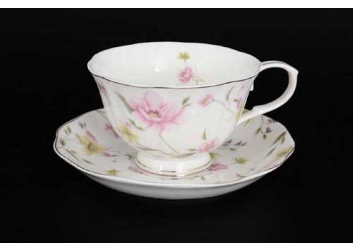Розовые цветы Набор чайных пар 6 шт