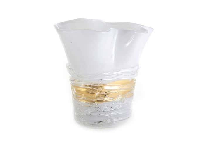 Артиджианато Ваза для цветов белая с золотом