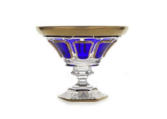 Арнштадт Синий Ваза для конфет на ножке 18 см