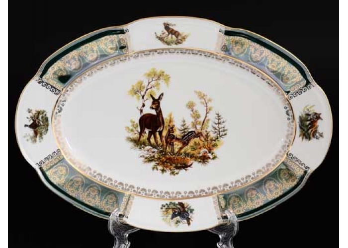 Болеро Охота Зеленая Блюдо овальное Royal Czech Porcelain 32 см