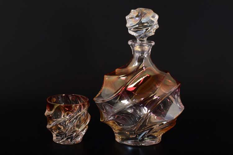 Волна Медовая Набор для виски Gold Crystal 7 пред.