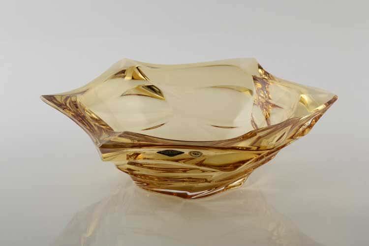 Фламенко желтая Ваза для фруктов Bohemia Treasury 33 см
