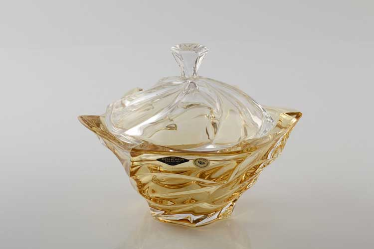 Фламенко желтая Ваза для конфет с крышкой Bohemia Treasury 20 см