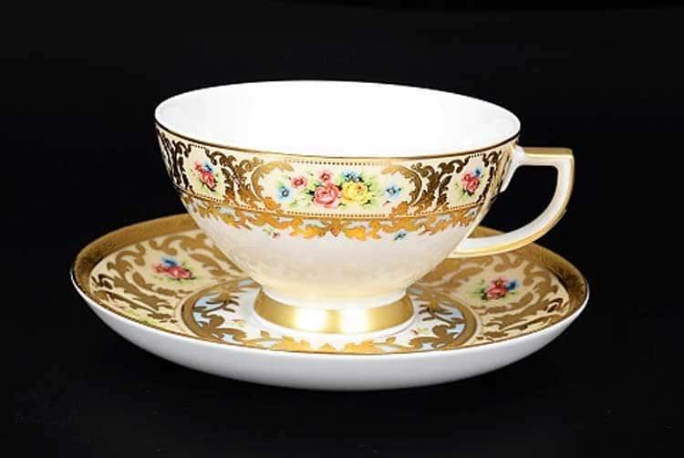 VIENNA CREME GOLD Чайный набор Falkenporzellan на 6 персон 12 предметов