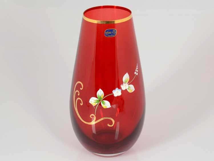 Кристалекс красная Ваза для цветов Bohemia Crystal 24 см