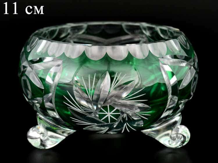 Цветной хрусталь Тройножка зеленая 11 см Bohemia