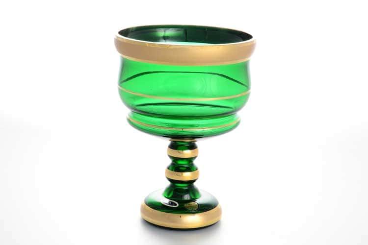 Star Crystal зеленый Конфетница на ножке 13 см