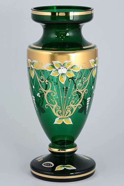 Star Crystal Лепка зеленая Ваза для цветов Bohemia Max 35 см